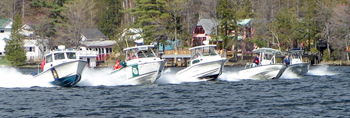Law enforcement officers practice their boat handling skills on Lake George