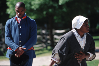 Interpreters at Philipsburg Manor, Yonkers NY; Interpreters perform a historical vignette describing the life of enslaved Africans on site.