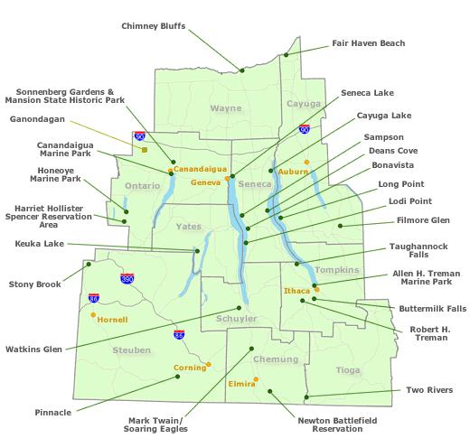 Map Of New York Finger Lakes Region.Campingflash Finger Lakes Region Nys Parks Recreation Amp