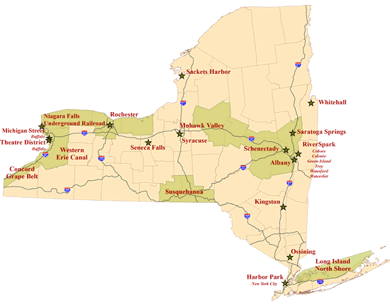 Heritage Areas NYS Parks Recreation Historic Preservation - New york state map with cities